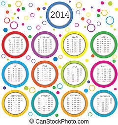 colorato, cerchi, 2014, calendario, per, bambini