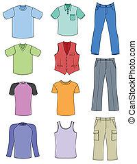colorato, collecti, estate, uomo, vestiti