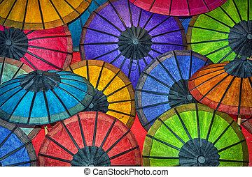 colorato, contatore, tradizionale, carta, laos, store., ombrelli