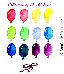 colorato, dipinto, collezione, watercolo, vivere, palloni