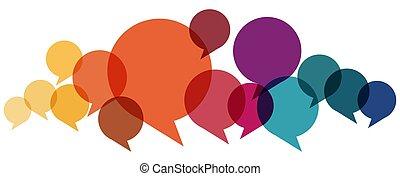 colorato, discorso, bolle, fila