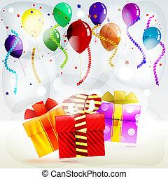colorato, fiamme, regali, scatole, fondo, strisce, vacanza, palloni