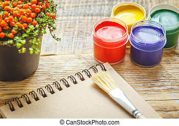 colorato, -, gouache, posto lavoro, matite, hobby, vasi, pittura