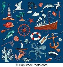 colorato, hand-drawn, elementi, di, marino, tema