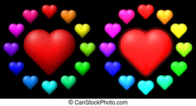 colorato, hearts., set