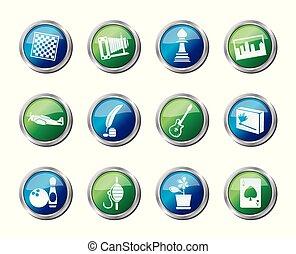 colorato, icone, sopra, ozio, fondo, vacanza, hobby