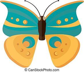 colorato, isolato, farfalla, cavolo, fondo., cartone animato, bianco