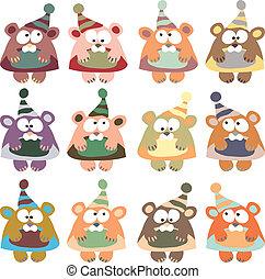 colorato, orsi, cappelli, vettore, fondo, bianco, inverno