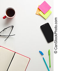 colorato, promemoria, caffè, penna, testo, centro, verde, quaderno, tazza, sfondo bianco, occhiali, telefono, vista, blu, cellula, cima, spazio aperto, rosso