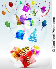 colorato, regali, scatole, fondo, strisce, vacanza, palloni