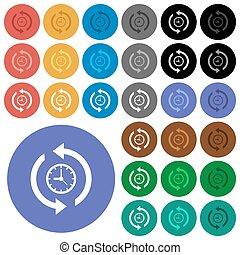colorato, rotondo, multi, icone, storia, appartamento