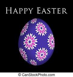 colorato, scheda, uovo, augurio, fiori, pasqua