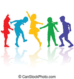 colorato, silhouette, di, felice, bambini giocando