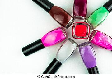 colorato, smalto per unghie, bottiglie