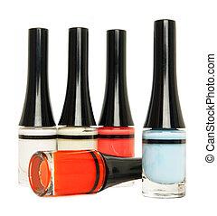 colorato, smalto per unghie, isolato, bianco
