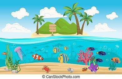 colorato, subacqueo, mondo, isola, composizione