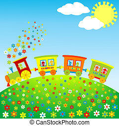 colorato, trenino, con, felice, bambini