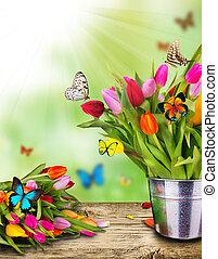 colorato, tulips, fiori, con, esotico, farfalle