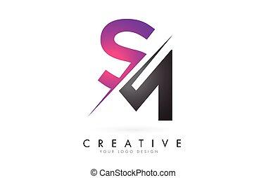 colorblock, créatif, logo, conception, m, cut., s, lettre,...