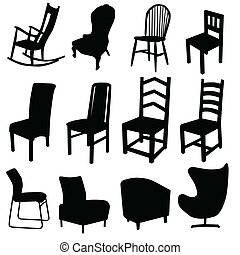 colore arte, due, illustrazione, vettore, nero, sedia