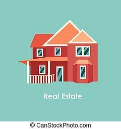 colore bene immobile, casa, illustrazione, vettore