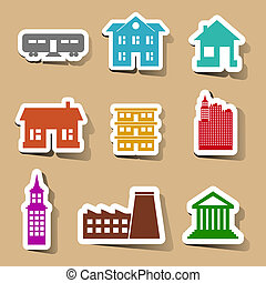 colore costruzione, set, adesivi, icone