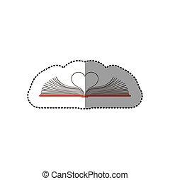 colore cuore, adesivo, mezzo, forma, libro, fogli, uggia, aperto