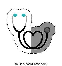colore cuore, adesivo, stetoscopio, nero, icona