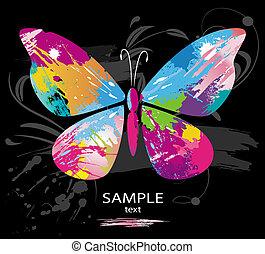 colore farfalla, linea, spazzole, schizzi