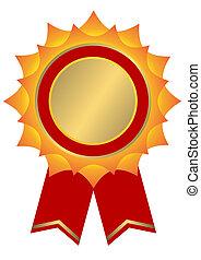 colore giallo dorato, premio, (vector), rosso