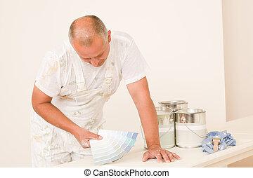 colore muestras, maduro, casa decorar, macho, pintor