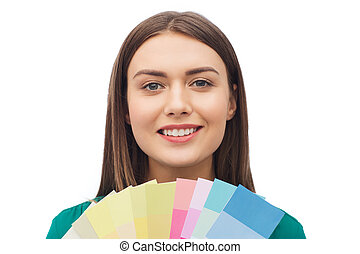 colore muestras, mujer sonriente, joven