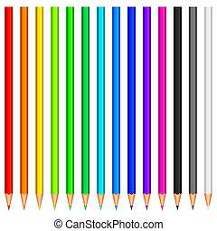 colore, pencils.
