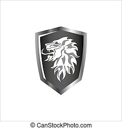 colore protezione, grigio, ruggito, simbolo, leone, icona