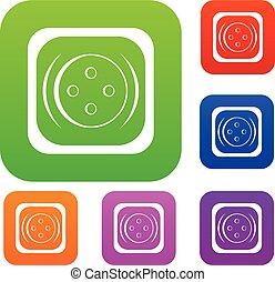 colore quadrato, bottone, collezione, set, abbigliamento