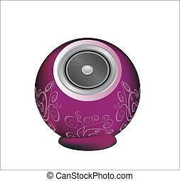 colore rosa scuro, audio, altoparlante