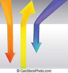 colore, -, tre, illustrazione, su, giù, andare, freccia