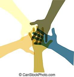 colore, unito, mani