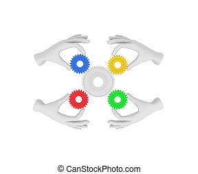 coloreado, asideros, Ilustración, mano, Plano de fondo,  (cog), humano, blanco,  3D, engranaje