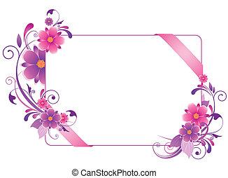 coloreado, bandera, con, flores, hojas, y, ornamento