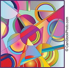 coloreado, círculos, aleatorio
