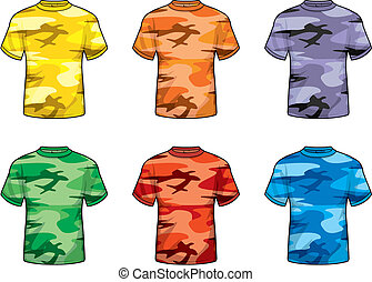 coloreado, camuflaje, camisas