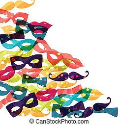 coloreado, carnaval, accessories., plano de fondo, feriado, brillante
