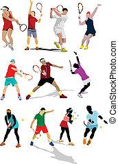 coloreado, cartel, player., tenis, vect