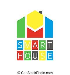 coloreado, casa, resumen, buiding, elegante, logotipo