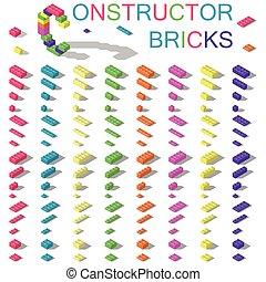 coloreado, componentes básicos, de, plástico, constructor, isométrico, conjunto