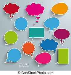 coloreado, comunicación, burbujas