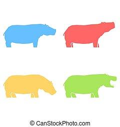 coloreado, diferente, posturas, hipopótamos