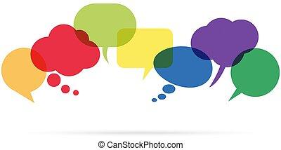 coloreado, discurso, burbujas, fila