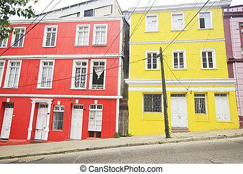 coloreado, edificios, de, valparaiso, ciudad, en, chile